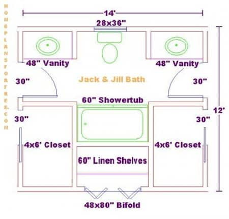 Floor Plan Of Jack And Jill Bathroom