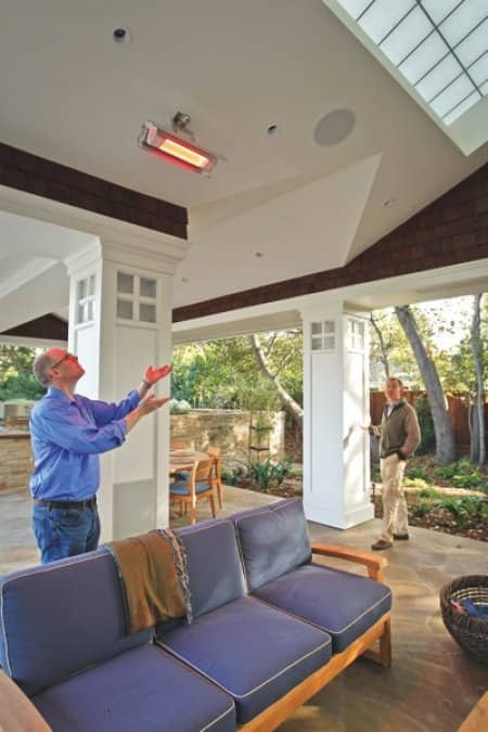 Alex Stadtner recommends low-mag-field infrared heaters for outdoor climate control. (Photo by Tony Avelar)