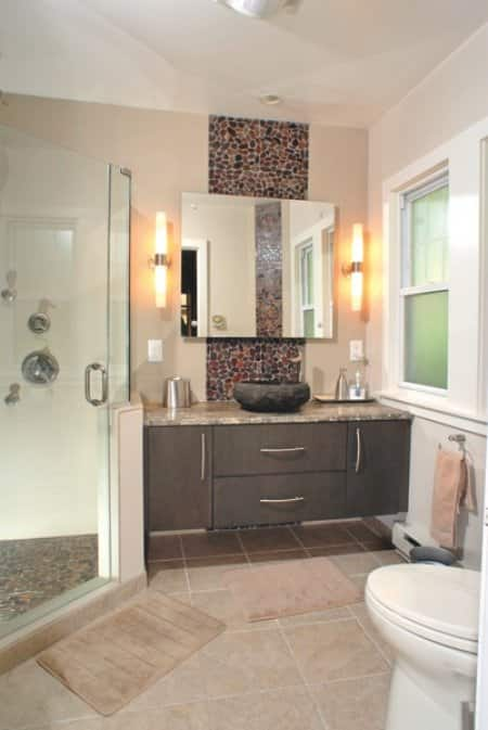 Elaine Anselm's remodeled bathroom: general view from bedroom. (Photos courtesy of Phil Matt)
