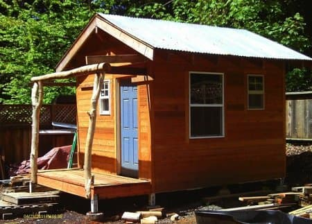 Mike Stokes rents out the tiny home he built on his property and says the residents are usually people in transition. (Photo courtesy of Stokes)