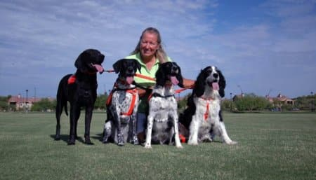 Lucas, Riley, Higgins and Dudley (left to right) have all been member's of Cooke's crew. Dudley and Riley were her original search dogs. (Photo courtesy of Deborah Cooke)