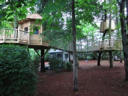 Bridges and rope bridges connect a tree house to multiple platforms. (Photo courtesy of Tree Top Builders, West Chester, Penn.)