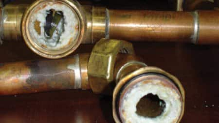 Hard water build up in water pipes