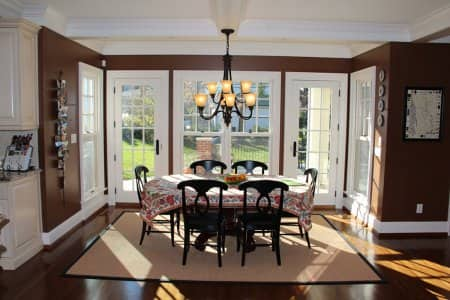 large windows in dining area
