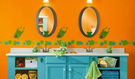 Colorful kids bath with two sinks. (Photo courtesy of bobvila.com).