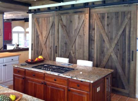 repurposed barn doors in kitchen