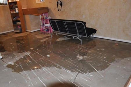 Flood caused by leak