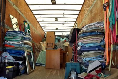 moving truck packed with items
