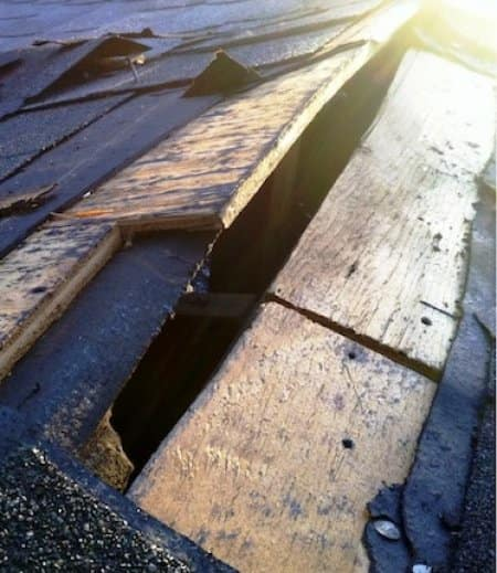 Extensive roof damage caused by foundation problems. (Photo courtesy of Mark Nosrati of Final Cut Roofing)