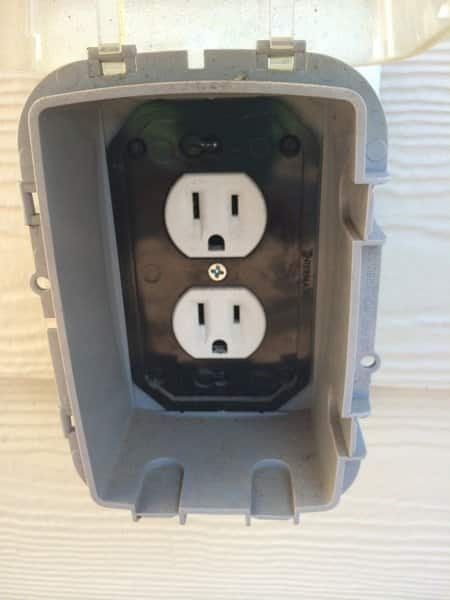 outdoor electrical outlet with clear safety cover