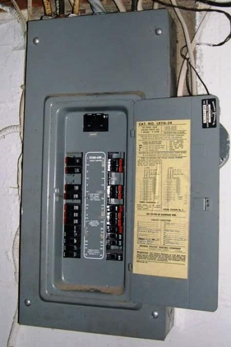 breaker box with a federal pacific circuit breaker panel with stab-lok  breakers