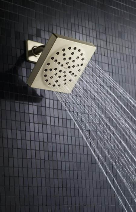 square shower head with running water
