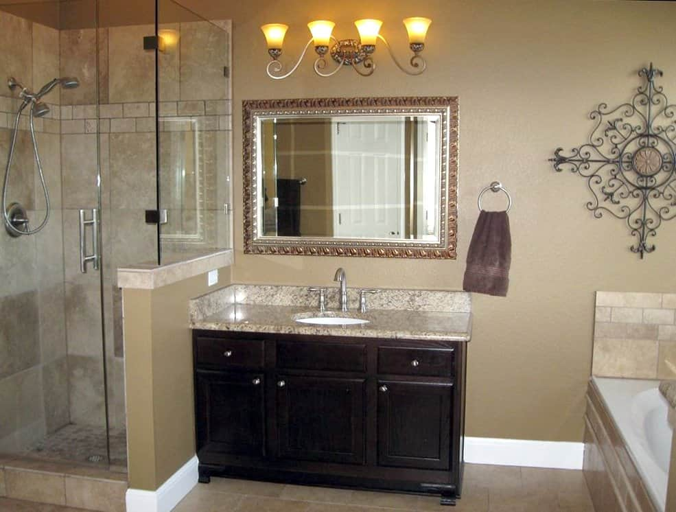 bathroom remodel with new countertops