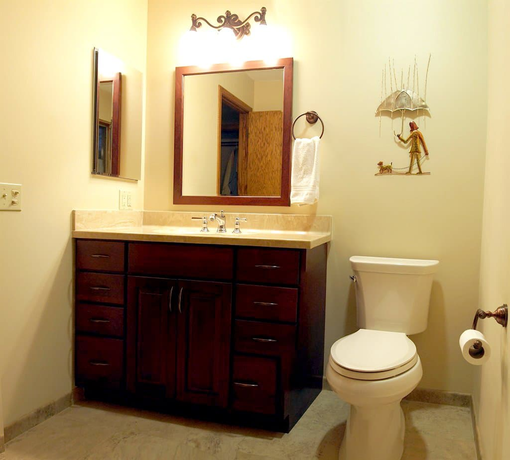 remodeled bathroom with new cabinets