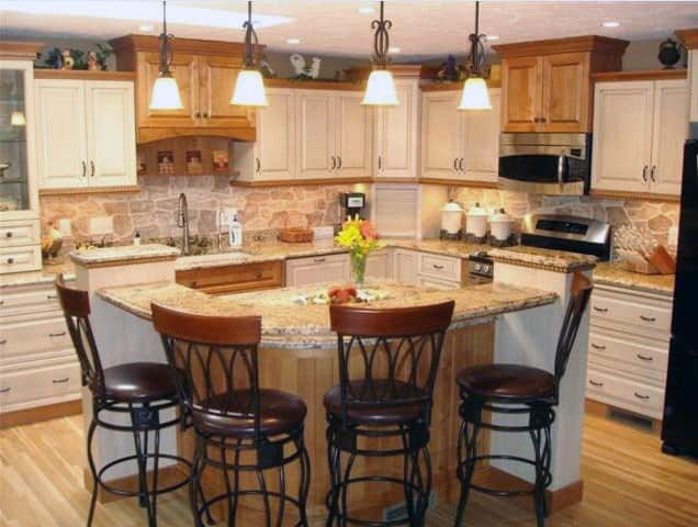 kitchen remodel with two-tone cabinets and new countertops