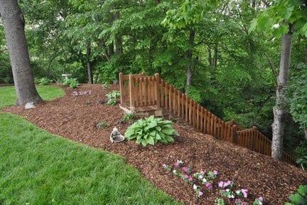 backyard landscape with economy mulch