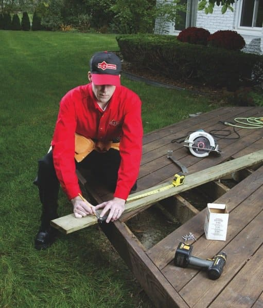 Handymen offer dozens of home repair services, such as carpentry, weatherstripping and caulking. (Photo courtesy of Mr. Handyman)