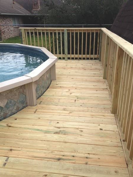 Decks for Less of Missouri City built this custom deck around an above-ground pool. (Photo courtesy of Clara Monroe)