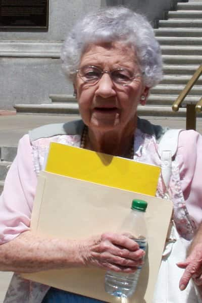 Mary Alice Barbee, 84, leaves the courthouse after her Aug. 8 bankruptcy hearing. (Photo by Tanja Pohl)