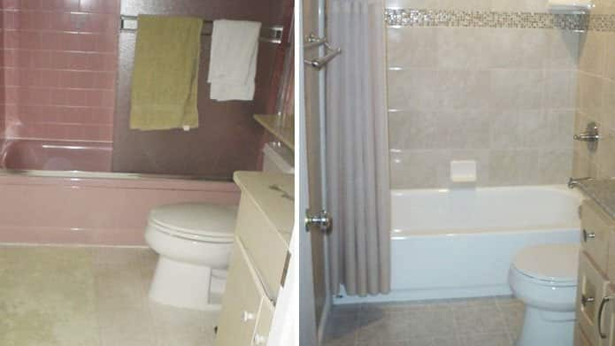 These before and after bathroom remodeling photos were submitted by member John Dallosta.