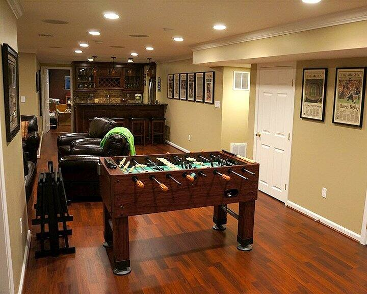 foosball table added to basement remodel