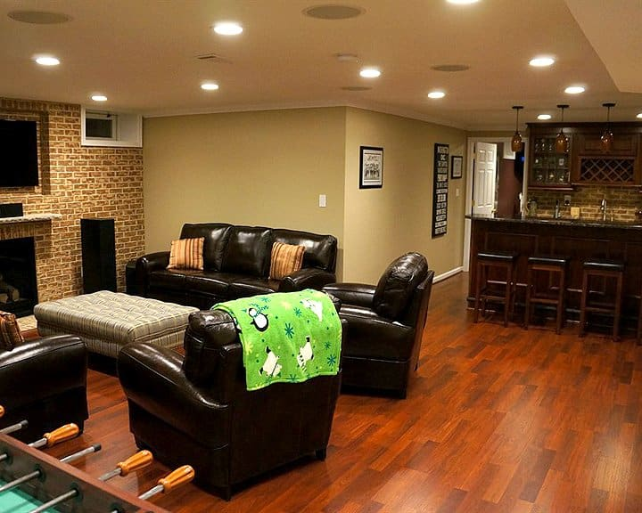 basement remodel with new bar area, bathroom, bedroom and office space