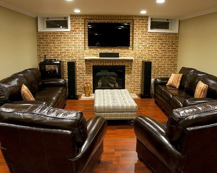 basement remodel with gas fireplace and surround sound