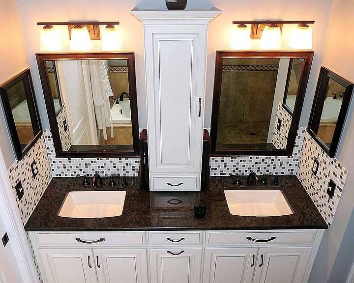 bathroom remodel with granite countertop