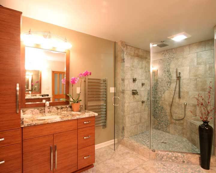 bathroom remodel with heated floor and towel warmer