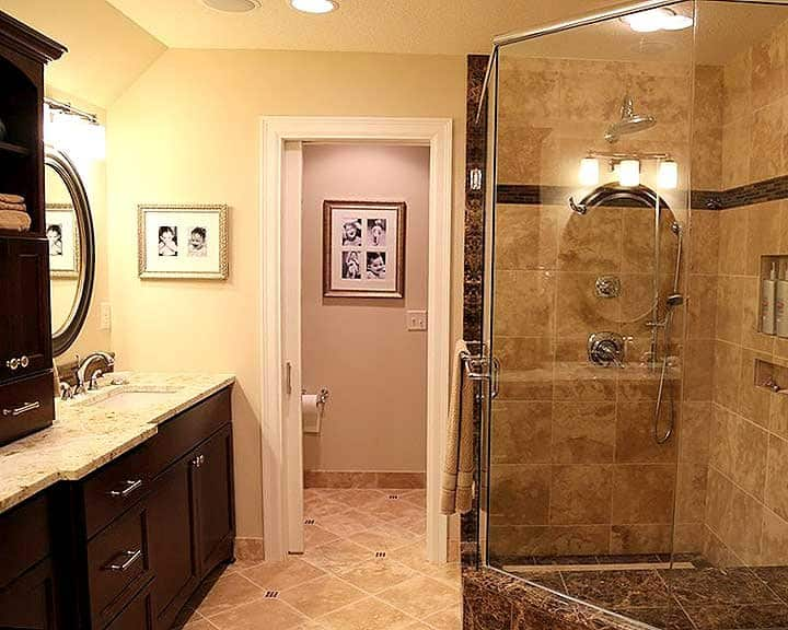 travertine shower with separate water closet