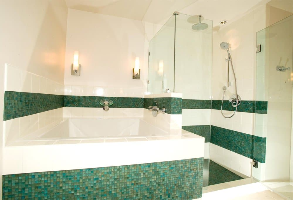 bathroom remodel with spacious tub with open shower
