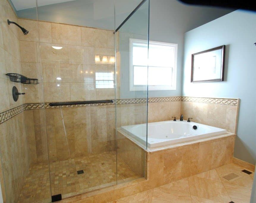 whirlpool tub with frameless shower