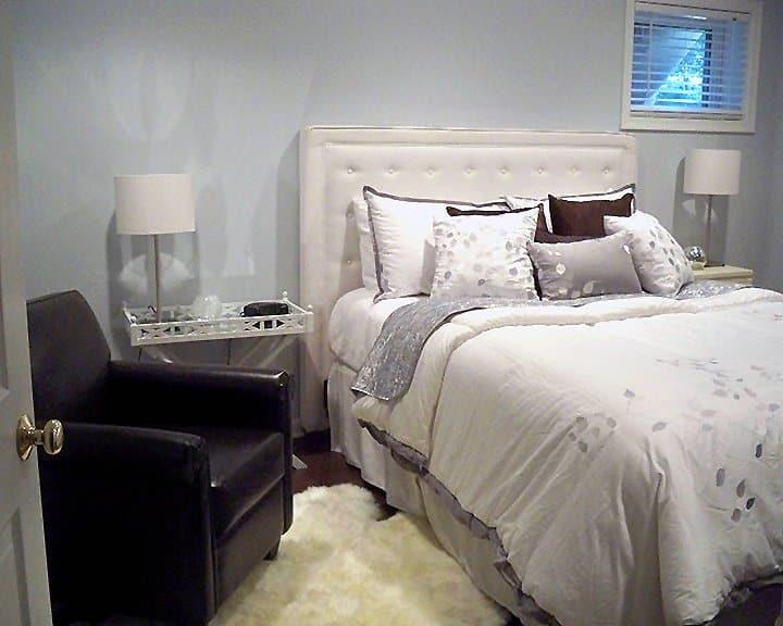 guest bedroom in basement remodel