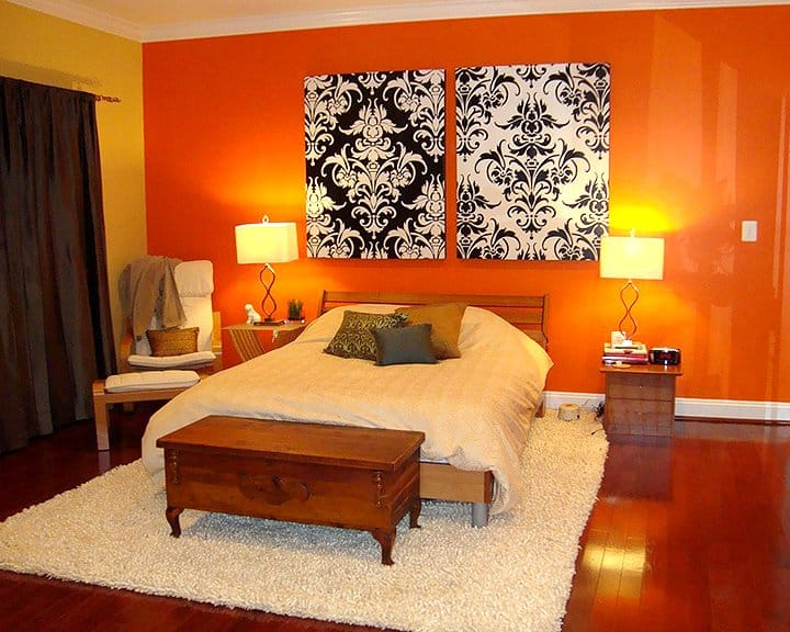 bedroom with bold interior paint colors