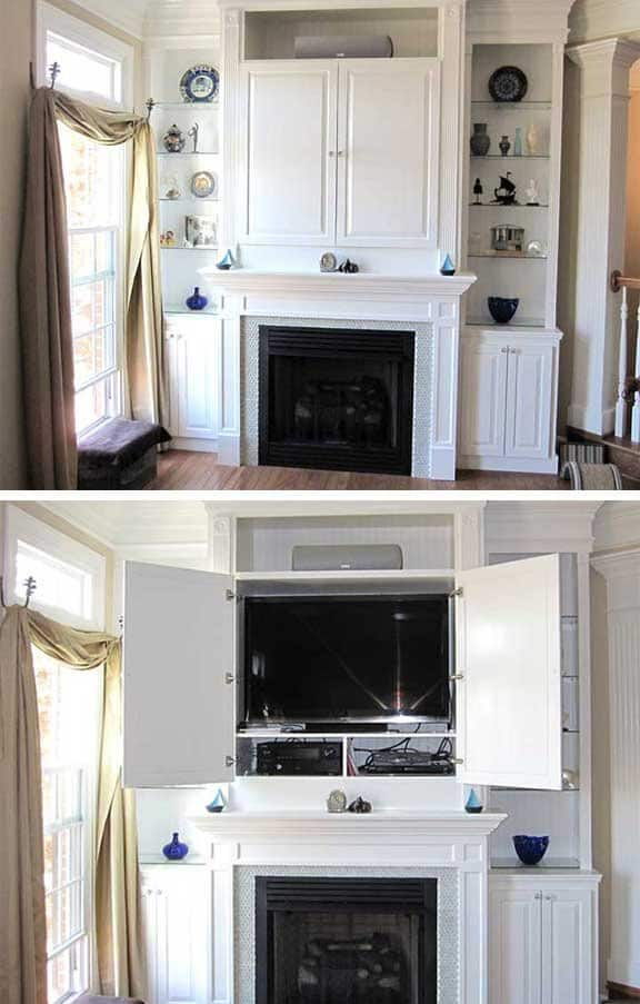 built-in that hides the TV