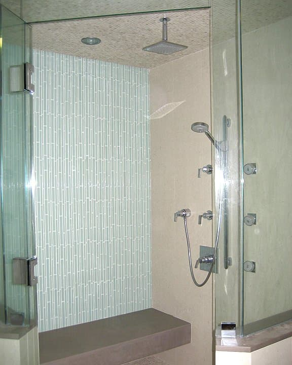 ceramic tile accent wall in home shower