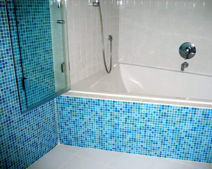ceramic tile on shower surround in bathroom remodel