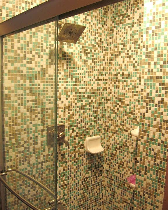 ceramic mosaic tiles in shower stall of bathroom