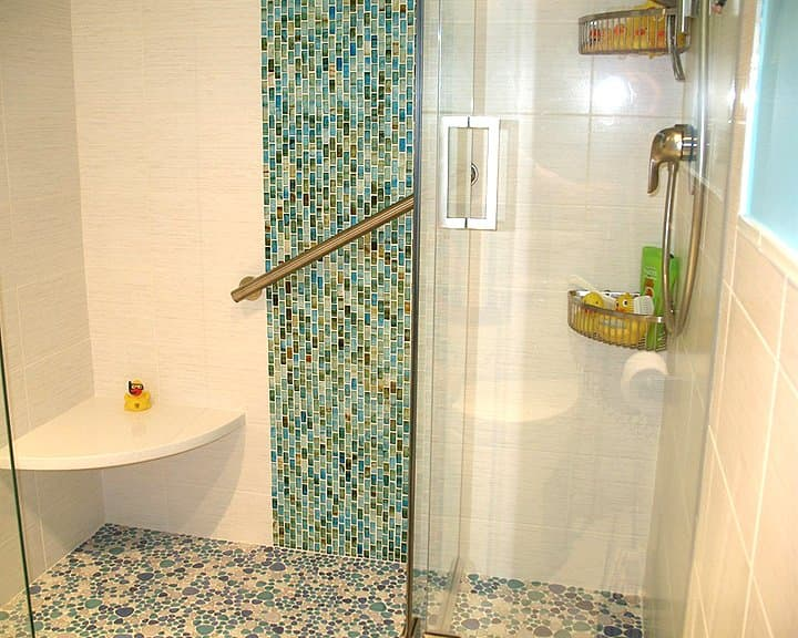 ceramic tile on shower in bathroom remodel