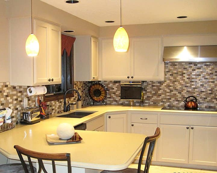 ceramic tile mosaic backsplash in kitchen remodel