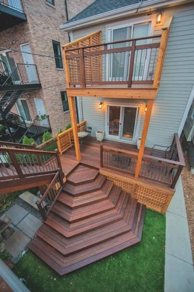 Davis' two-story deck includes a waterfall staircase. (Photo courtesy of Ben Davis)