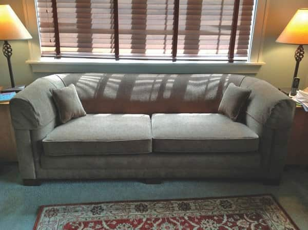 Cox Upholstering reupholstered Andrea O'Neill's couch so well, Neill's husband no longer sinks to the floor.(Photo courtesy of Andrea O'Neill)