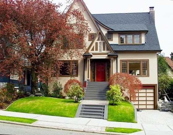 neatly landscaped home exterior