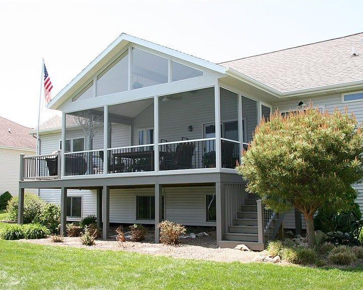 elevated backyard screened-in deck