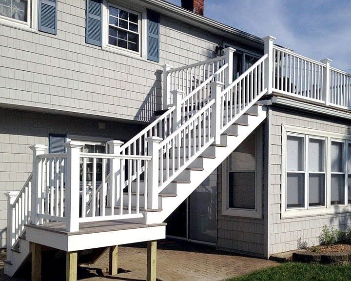 backyard deck with new, composite stairs