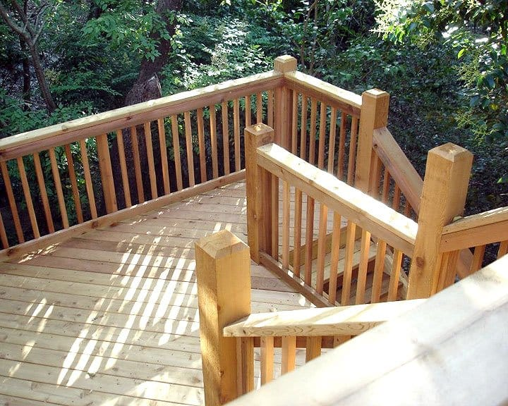home with three-level deck