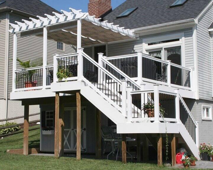 deck with herringbone design