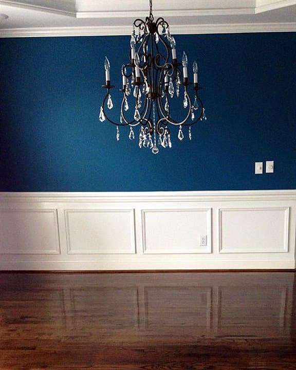 dining room with dark interior paint color