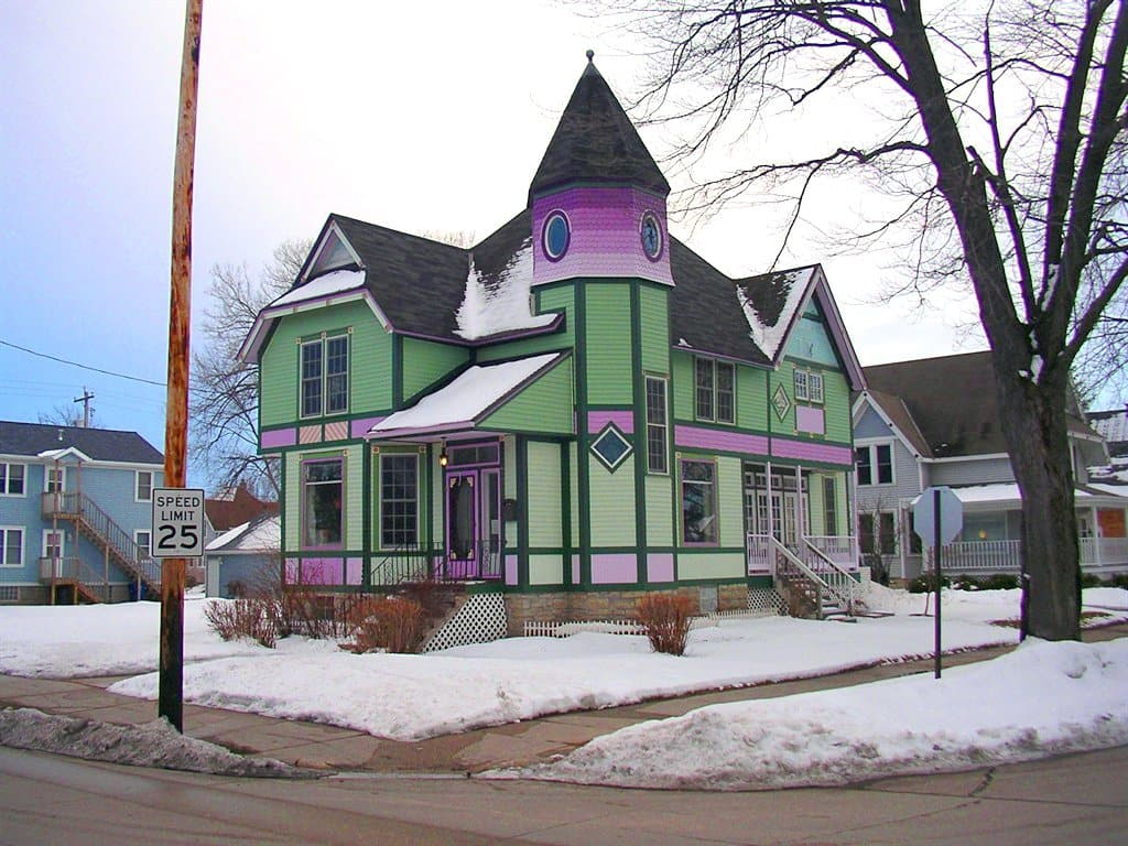updated Victorian house with bold paint colors