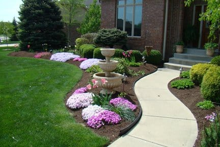 front yard landscape with hardwood fines mulch